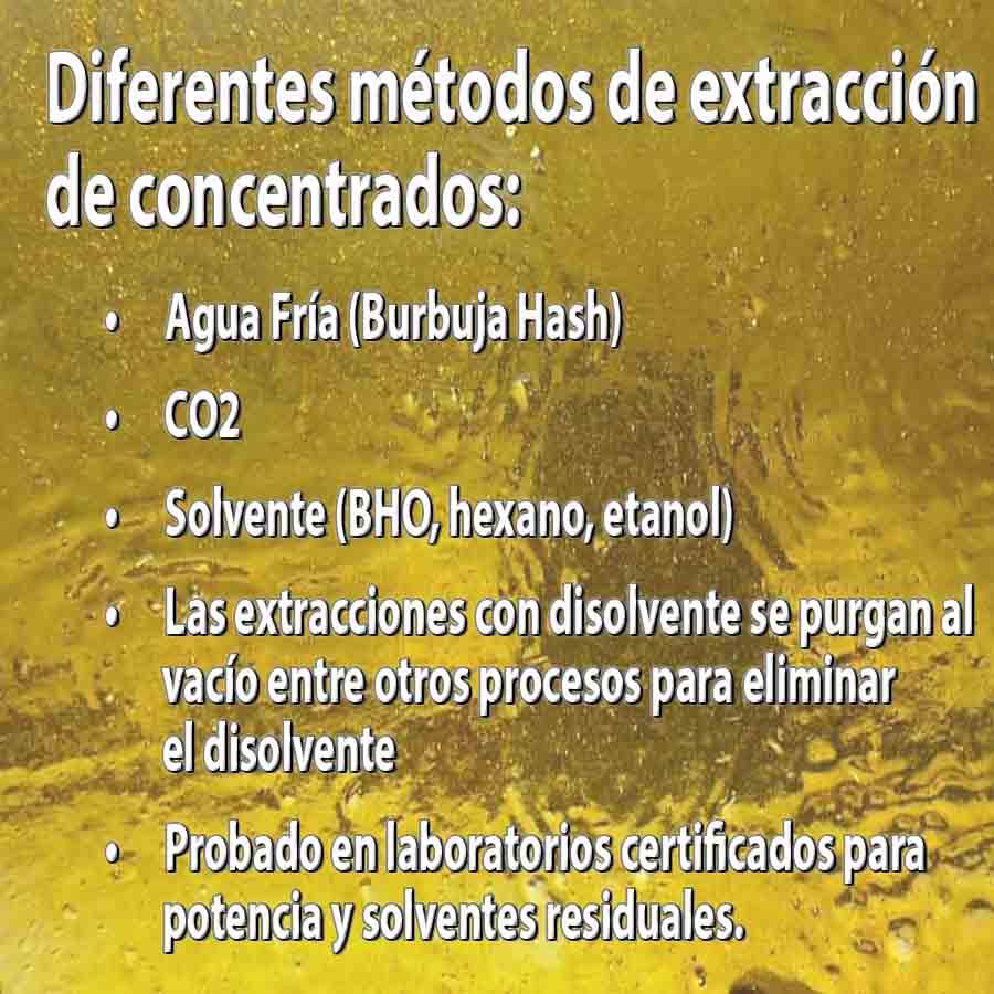 Diferentes métodos de extracción de concentrados